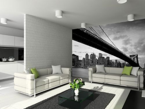 GIANT WALLPAPER WALL MURAL NEW YORK BROKLYN BRIDGE MODERN THEME DESIGN